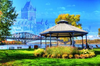 Beautiful Quebec City Park and Bridge 1