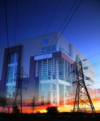 Office Building with Electric Pylons Photo Montage