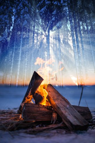 Wintery Wood Fire 01