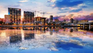 2020 Montreal City at Sunset with Water Reflection