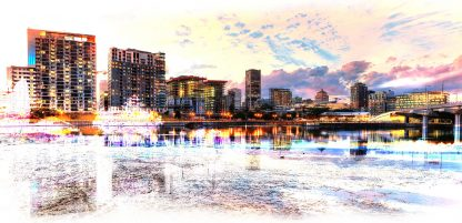 2020 Montreal Cityscape with Colorful Special Effect Image
